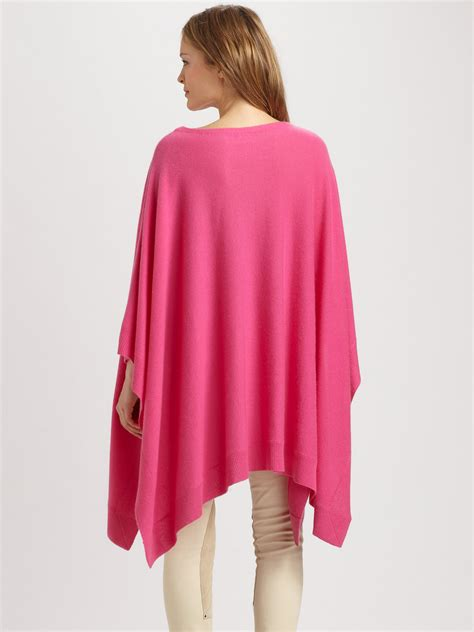 lyst ralph lauren blue label cashmere poncho  pink