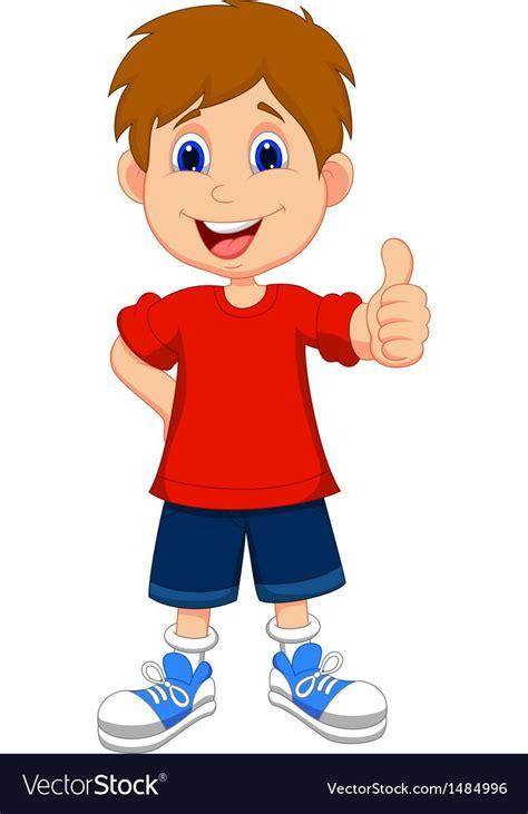vector illustration  cartoon boy giving  thumbs