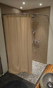 Tringle De Douche : paroi de douche italienne d 39 angle avec tringle et rideau ~ Melissatoandfro.com Idées de Décoration