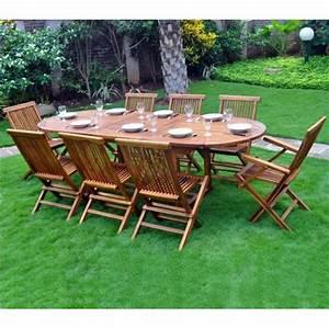 Salon De Jardin 10 Places : ensemble en teck de jardin bois huil 8 10 places ~ Teatrodelosmanantiales.com Idées de Décoration