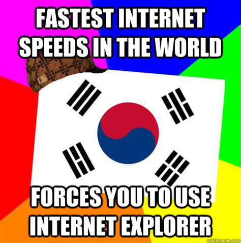 Internet Speed Meme - fastest internet speeds in the world forces you to use internet explorer scumbag korea quickmeme