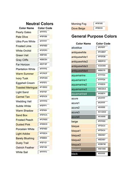 css color chart color chart free create edit fill and print