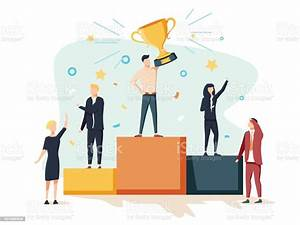 Vector, Illustration, People, Stand, On, The, Podium, First