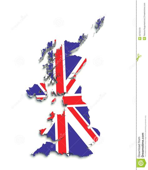 flag map  great britain  white stock illustration