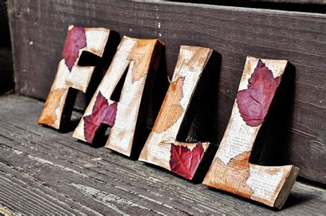 diy fall wooden letters dollar tree leaves scrapbook