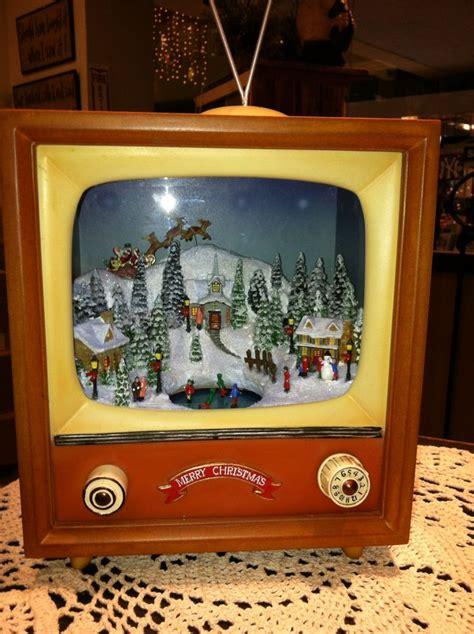vintage tv christmas snow scene  box christmas