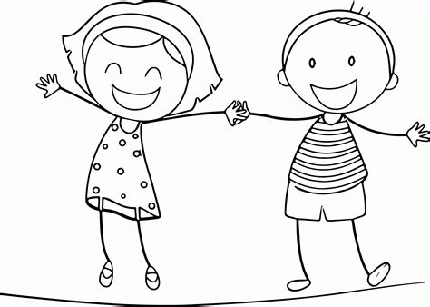 girl  boy coloring page coloring home