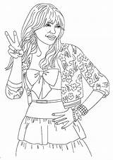 Celebrity Hannah Montana Coloring Pages Printable Books Social Q2 sketch template