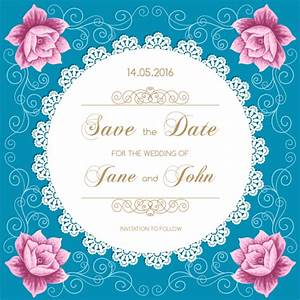 lace wedding invitation card with flower vintage vector 01 With vintage wedding invitation with lace free vector