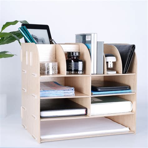top of desk storage creative multi functional desk organizer natural wood