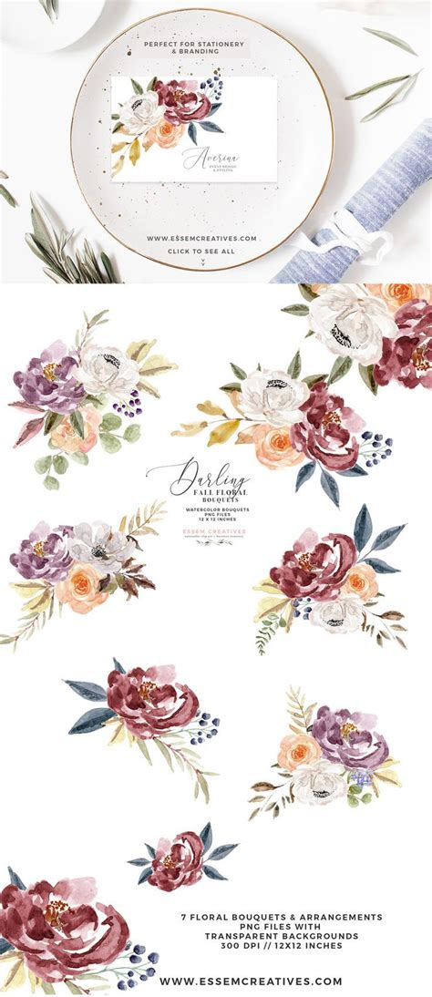 fall floral watercolor clipart burgundy rose gold