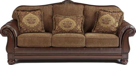 tone traditional sofa  wood trim accents living