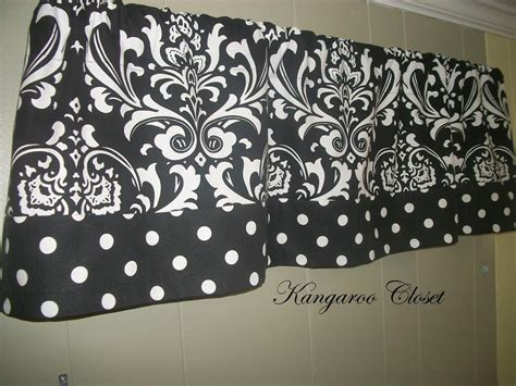 Black And White Valance by Black And White Damask Pattern With Polka Dot Trim Valance