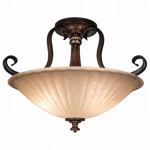 Hampton bay reims 2 light antique bronze semi flush mount for Bronze semi flush mount light