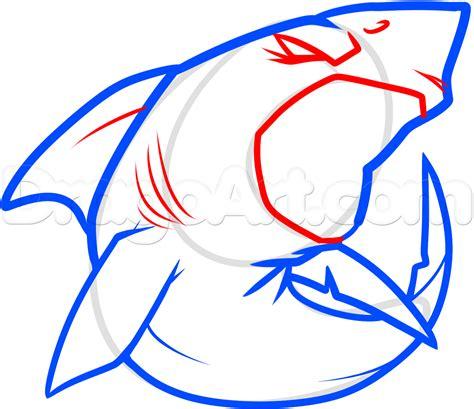 draw  cool shark step  step sea animals