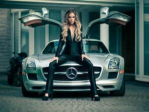 Mercedes SLS car and girl wallpaper | cars | Wallpaper Better