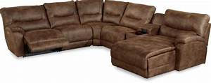 Casual six piece power reclining sectional sofa with las for Power reclining sectional sofa with chaise