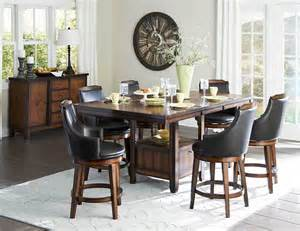 Pub Dining Room Set by Counter Height Burnished Dining Table Swivel Pub Chairs