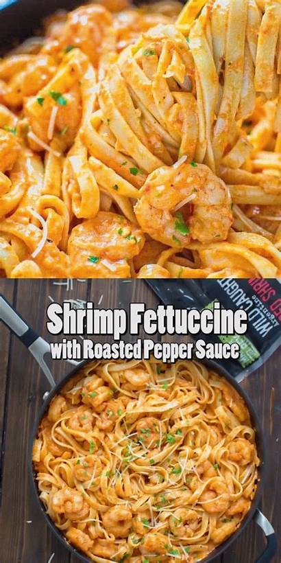 Shrimp Roasted Fettuccine Pepper Sauce Recipes Seafood