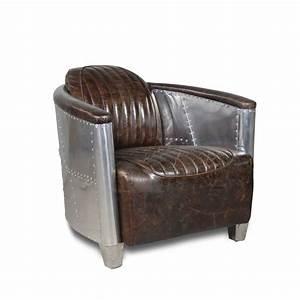 Fauteuil Cuir Marron Vintage : fauteuil aviateur cuir patin marron vintage et aluminium rivet ~ Teatrodelosmanantiales.com Idées de Décoration