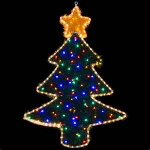 mains voltage festive christmas tree rope light with coloured tinsel indoor outdoor use 98cm x 69cm