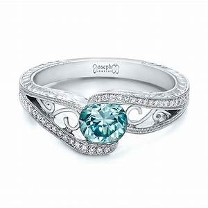 custom blue zircon and diamond engagement ring 100645 With wedding rings with blue