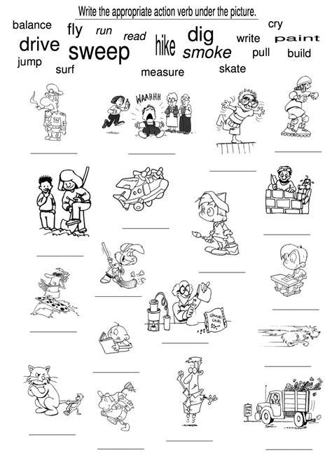 examples  action verbs language verb worksheets