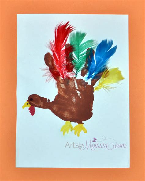 turkey crafts for preschoolers artsy momma 434 | Handprint Turkey with Feathers Preschool Craft