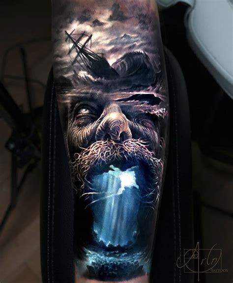 poseidon storm mens forearm piece  tattoo design ideas