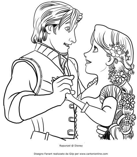principesse disney da colorare rapunzel disegno di rapunzel che balla con flynn da colorare