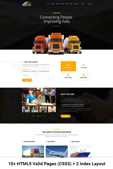 Transport Website Template by Trucking Logistics And Transportation Website Template