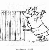 Nailing Outlined Fencer Boards Coloring Cartoon Toonaday sketch template