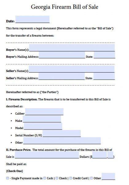 bill of sale template ga free firearm gun bill of sale form pdf word doc