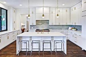 White and gold kitchen with cb2 vapor acrylic bar stools for What kind of paint to use on kitchen cabinets for large acrylic wall art