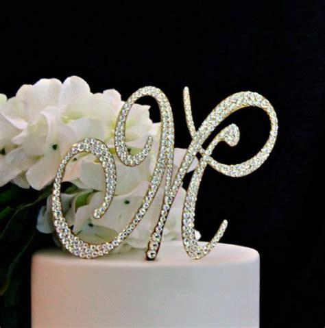 monogram gold wedding cake topper decorated  swarovski crystals   letter
