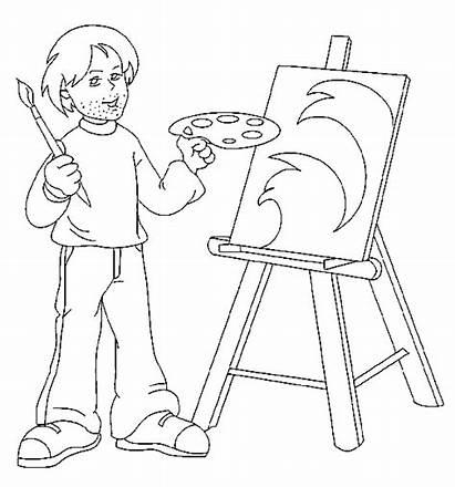 Kunstenaar Coloring Pages Kleurplaten Beroepen Coloringpages1001 Tekening
