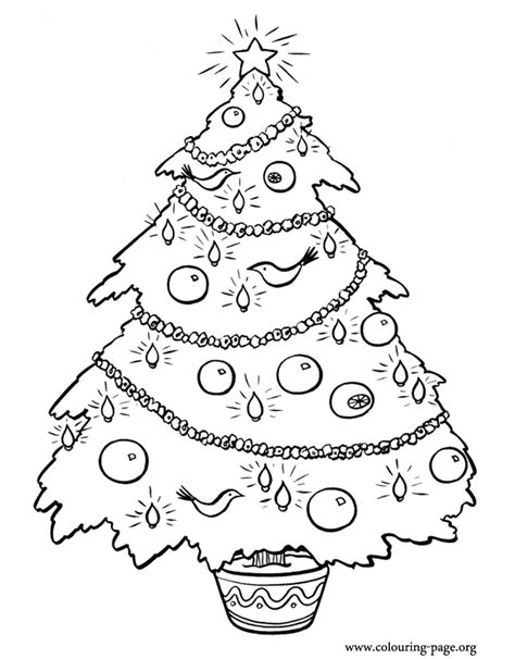 christmas decorated christmas tree coloring page
