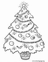 Christmas Coloring Tree Decorated Colouring Pages Ornaments Lights sketch template