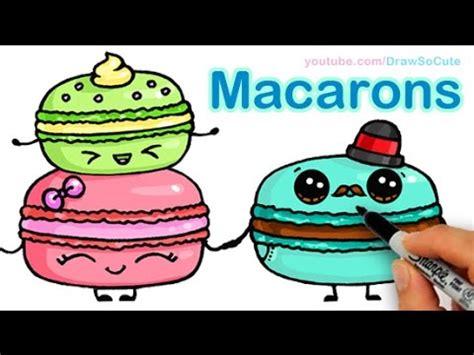 draw  cute food   draw macarons cute step  step sweet cartoon desserts vidloggest