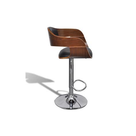 tabouret de bar design en bois et simili cuir noir hauteur r 233 glable