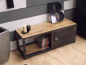 Meuble Entree Industriel : meuble tv industriel loft bois et m tal micheli design ~ Teatrodelosmanantiales.com Idées de Décoration
