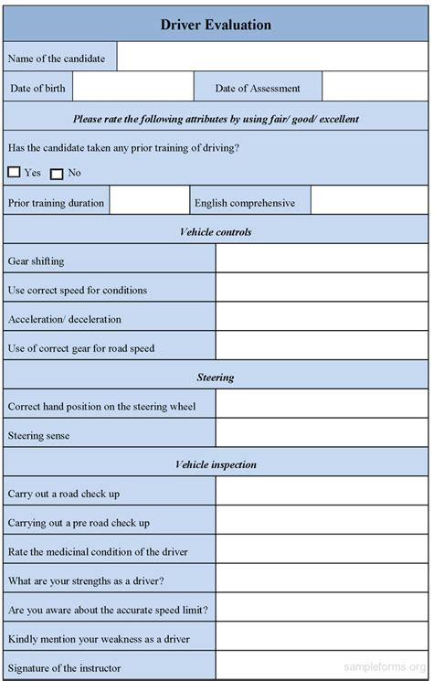 driver evaluation form template driver evaluation form sle forms