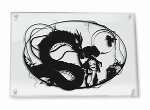 Studio Ghibli Spirited Away Haku and Chihiro // silhouette