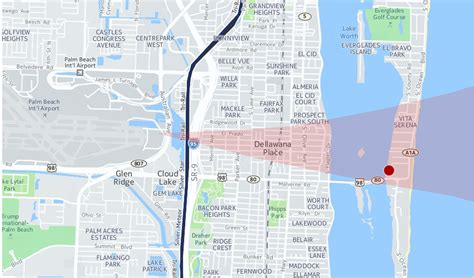 map trumps mar  lago resort  airport flight paths