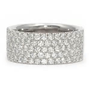 flat engagement rings wide white gold anniversary band pave diamonds wixon jewelers