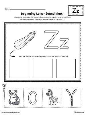letter  beginning sound picture match worksheet phonics