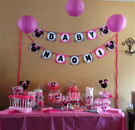 minnie mouse baby shower decorations ideas minnie mouse baby shower buffet s baby shower