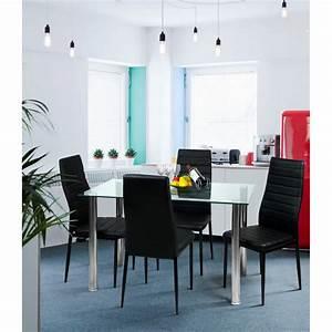 Table Verre Salle A Manger : table de salle a manger cristaline verre blanche l 140 cm ~ Melissatoandfro.com Idées de Décoration