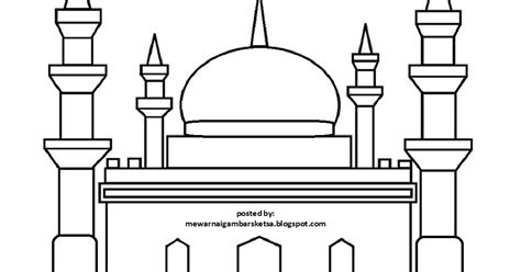 57 gambar mewarnai masjid sd