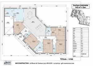 plan de maison en v plan de maison en v plain pied With plan maison en l 100m2 6 maison design pas cher 96 en v